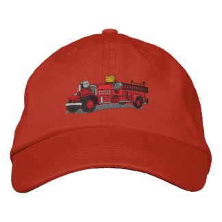 Antique Fire Truck Embroidered Hats