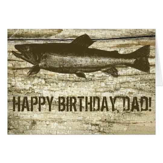 Antique Fish on Vintage Cutting Board Birthday Card