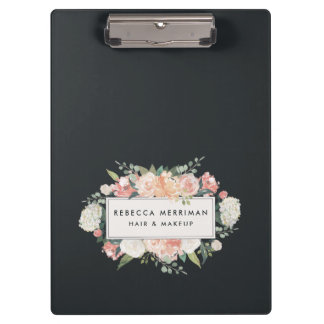 Antique Floral Blush & Charcoal Clipboard