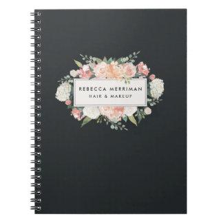 Antique Floral Blush & Charcoal Spiral Notebook