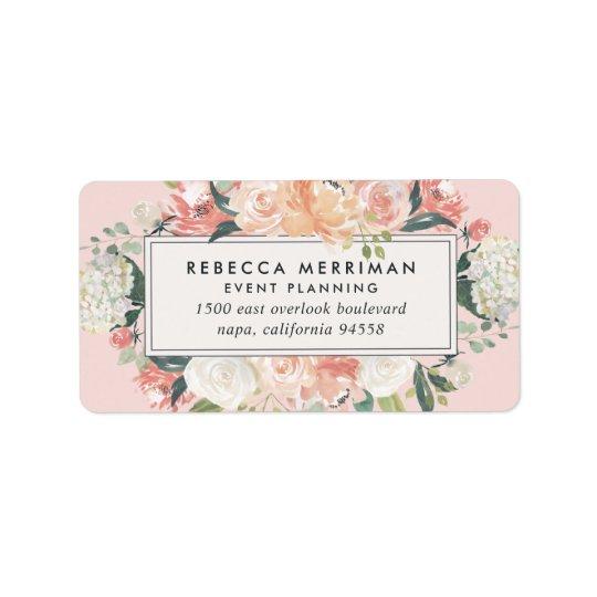 Antique Floral Blush Pink Return Address