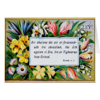 Antique floral Gaelic bible verses Card