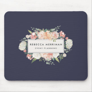 Antique Floral Logo | Blush & Navy Mouse Pad