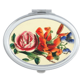 Antique Floral Red Lily | Watercolor Roses Vanity Mirrors