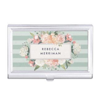 Antique Floral Sage Stripe Business Card Holder