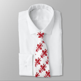 ANTIQUE FLORENTINE LILY / RED FLEUR DE LISE, White Tie