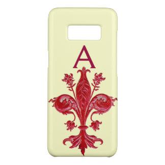ANTIQUE FLORENTINE RED LILY,FLEUR DE LIS, Monogram Case-Mate Samsung Galaxy S8 Case