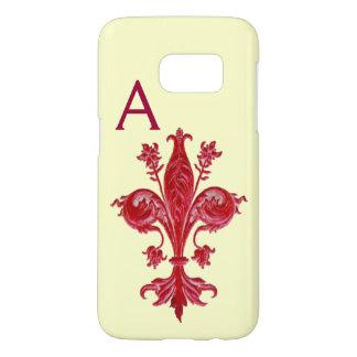 ANTIQUE FLORENTINE RED LILY,FLEUR DE LIS, Monogram Samsung Galaxy S7 Case