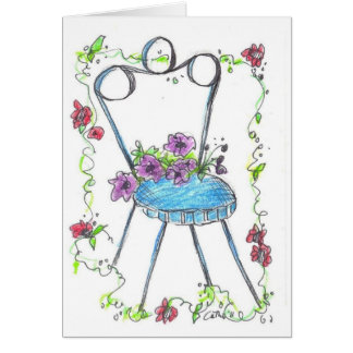 Antique Flower Chair Drawing Blank Notecard
