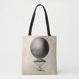 Antique Flying Machine Illustration Tote Bag