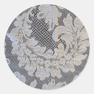 Antique French Alencon Lace Classic Round Sticker