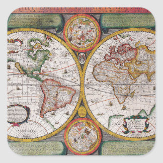 Antique French Map of The World Square Sticker