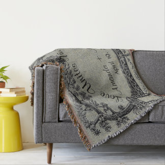 Antique French Trees Frame Personalized Wedding Throw