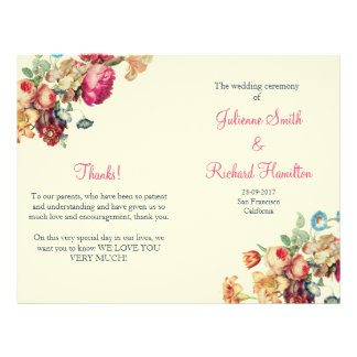 Antique Garden | Vintage Wedding Folded Program Flyer