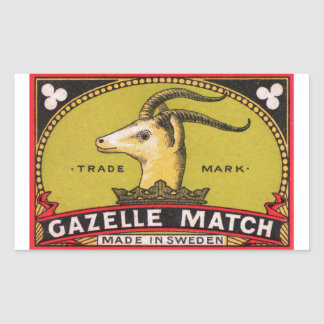 Antique Gazelle Swedish Matchbox Label
