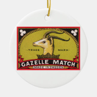 Antique Gazelle Swedish Matchbox Label Ceramic Ornament