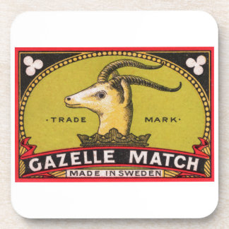 Antique Gazelle Swedish Matchbox Label Coaster