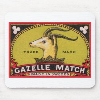 Antique Gazelle Swedish Matchbox Label Mouse Pad