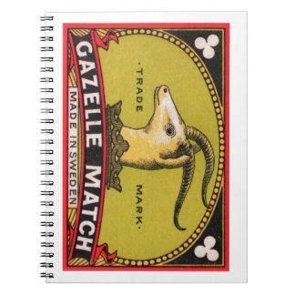 Antique Gazelle Swedish Matchbox Label Note Books