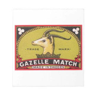 Antique Gazelle Swedish Matchbox Label Notepad