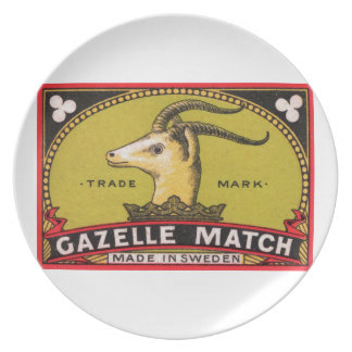 Antique Gazelle Swedish Matchbox Label Plate