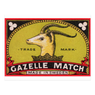 Antique Gazelle Swedish Matchbox Label Postcard