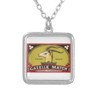 Antique Gazelle Swedish Matchbox Label Silver Plated Necklace