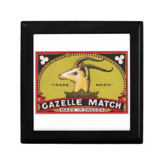 Antique Gazelle Swedish Matchbox Label Trinket Boxes