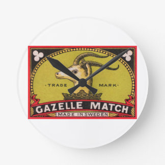 Antique Gazelle Swedish Matchbox Label Wall Clock