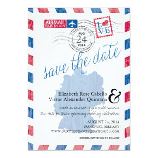 Antique Germany Airmail Save the Date Card