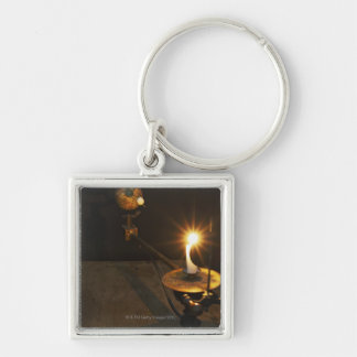 Antique globe and candle solar system model keychain