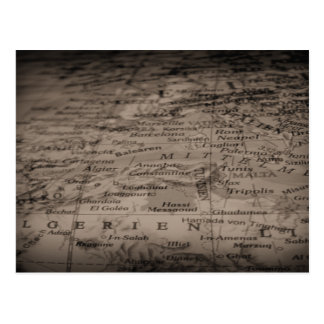 Antique Globe/Map in Black and White Postcard