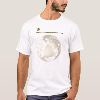 Antique Gold and Sextant on Gold and White T-Shirt