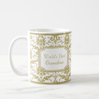 Antique Gold Damask Best Grandma Coffee Mug