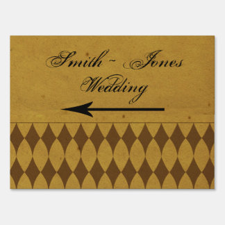 Antique Gold Diamond Wedding Direction Sign