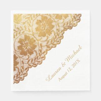 Antique Gold Floral Pattern Faux Lace Wedding Paper Napkin