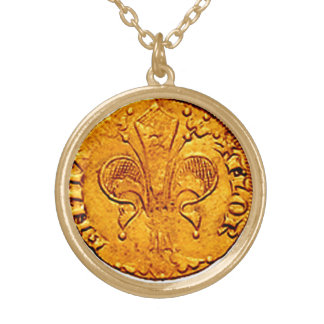 ANTIQUE GOLD FLORENTINE FORINT GOLD PLATED NECKLACE