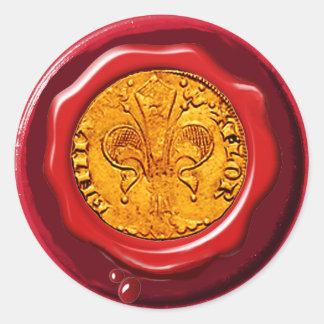 ANTIQUE GOLD FLORENTINE FORINT RED WAX SEAL ROUND STICKER