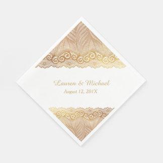 Antique Gold Palm Leaf Pattern Faux Lace Wedding Napkin