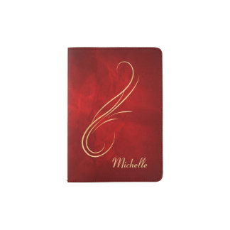 Antique Gold Swirl on Red Passport Holder