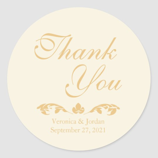 Antique Gold Thank You Stickers