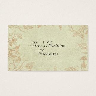 Antique Gold Viintage Floral Vine Wedding Business Card