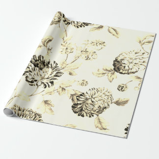 Antique Gold Vintage Botanical Floral Toile Wrapping Paper