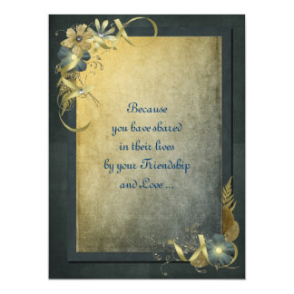 """Antique Gold Vow Renewal 6.5"""" X 8.75"""" Invitation Card"""