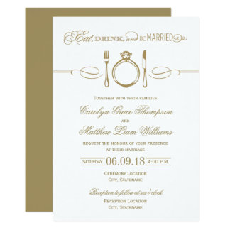 Antique Gold Wedding | Eat Drink and Be Married Card