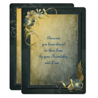 Antique Gold Wedding Vow Renewal Card