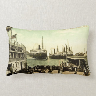 Antique Great Lakes Harbor Scene Detroit Michigan Lumbar Pillow