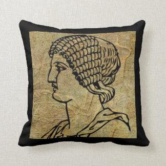 Antique Grecian Greek Woman Scroll Throw Pillow