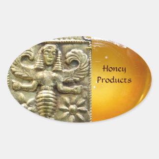 ANTIQUE GREEK HONEY BEE GODDESS OVAL STICKER