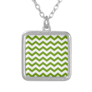 Antique Green Chevrons Silver Plated Necklace